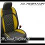 Jeep Gladiator Custom Hyper Yellow Diamond Stitched Leather Seats