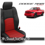 2009 - 2013 Dodge Ram Sport Black and Red Perforated Leather Seats