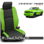 2009 - 2013 Dodge Ram Sport Black and Screaming Green Custom Leather Seats