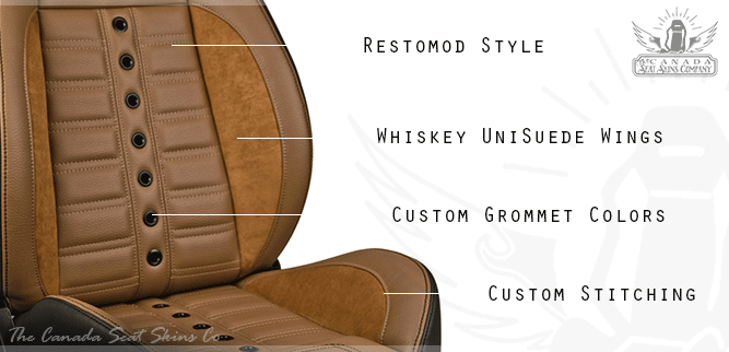 Saddle Brown Pro Touring Restomod Bucket Seat Design